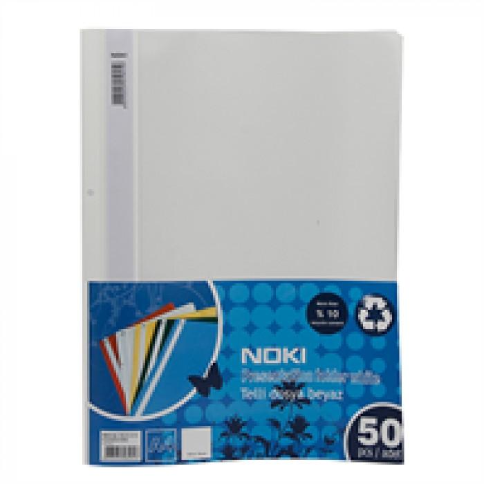 Noki Telli Dosya Plastik 50'li Paket XL (4820)-Beyaz